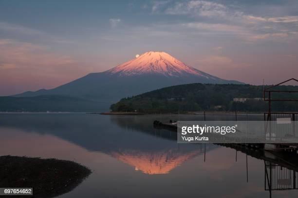 Mt. Fuji and the Full Moon Reflected in lake Yamanaka