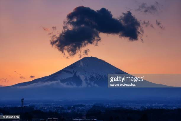 Mt. Fuji close up . Mt. Fuji is commonly called as Fuji-san, Fujisan, Fuji mountain. Fuji mountain is one of the best-known symbols of Japan.
