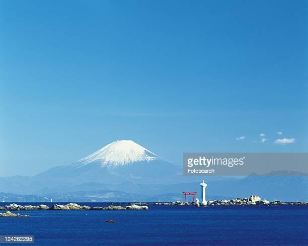 Mt. Fuji from Hayama Beach, Shonan, Kanagawa Prefecture, Japan, Low Angle View, Pan Focus