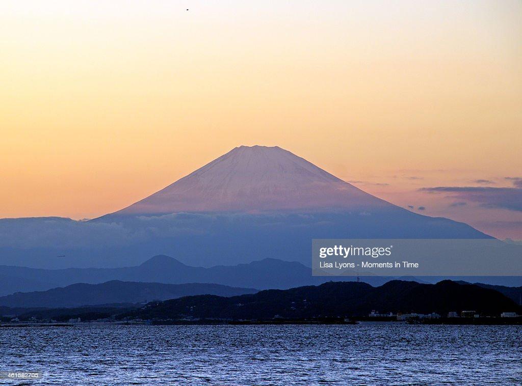 A Mt. Fuji Golden Sunset : Stock Photo