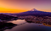 Mountain Fuji at winter morning with reflection on the lake Kawaguchi, Japan