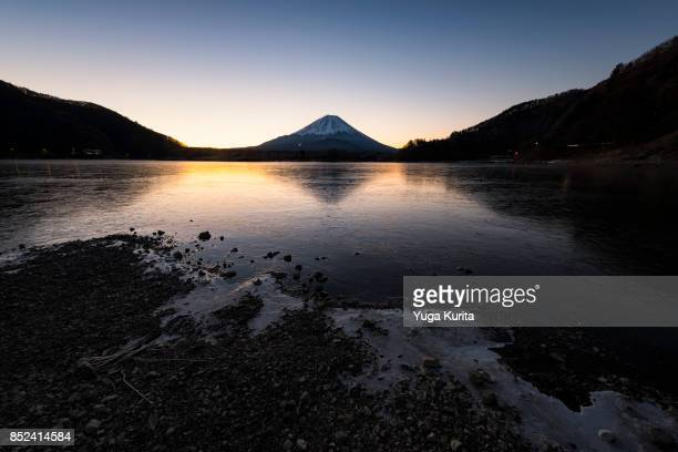 Mt. Fuji over a Frozen Lake