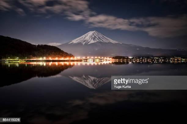 Mt. Fuji over Lake Kawaguchi at Night
