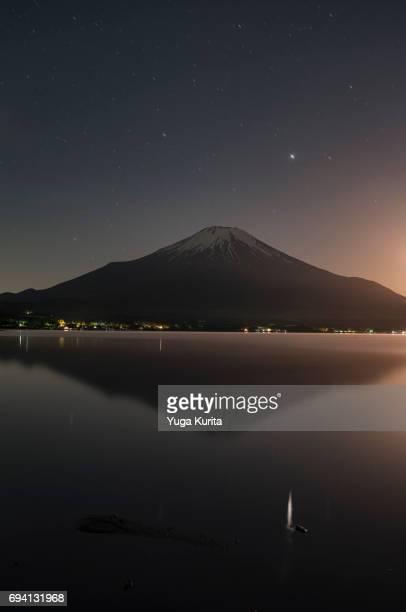 Mt. Fuji over Lake Yamanaka under the Stars