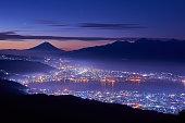 Mt. Fuji over the lake Suwa