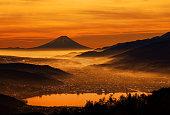 Mt Fuji over the lake Suwa