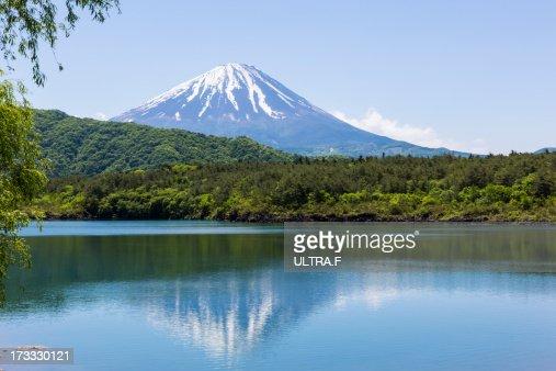 Mt. Fuji reflected in lake, saiko