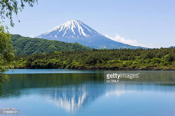 Mt. Fuji reflected in lake, saiko