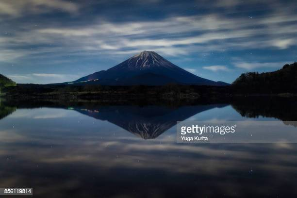 Mt. Fuji Reflected in Lake Shoji at Night