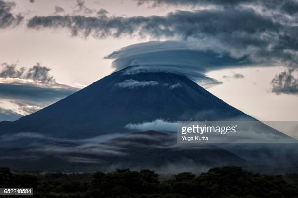 Mt. Fuji with a Lenticular Cloud and Fog