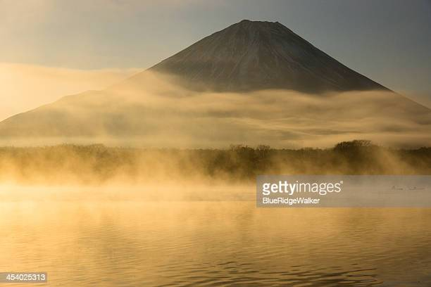 Mt Fuji with the haze over the lake