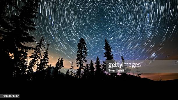 Mt. Hood and Aurora Night Sky Star Trails Over Oregon