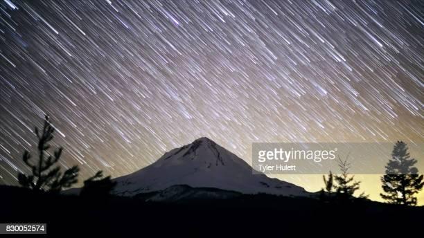 Mt. Hood and Glow of Portland Night Sky Star Trails Over Oregon