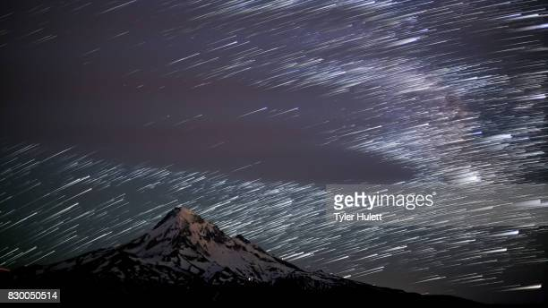 Mt. Hood from Lost Lake Butte Close Night Sky Star Trails Over Oregon