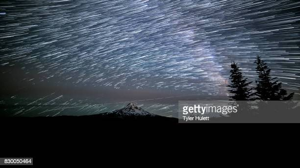 Mt. Hood from Lost Lake Butte Wide Night Sky Star Trails Over Oregon