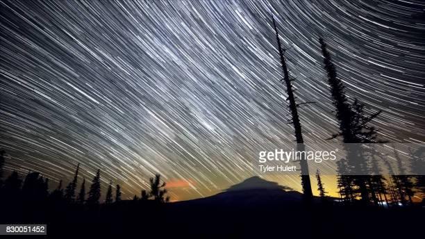 Mt. Hood Meadow Night Sky Star Trails Over Oregon