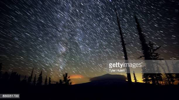 Mt. Hood Night Sky Star Trails Over Oregon