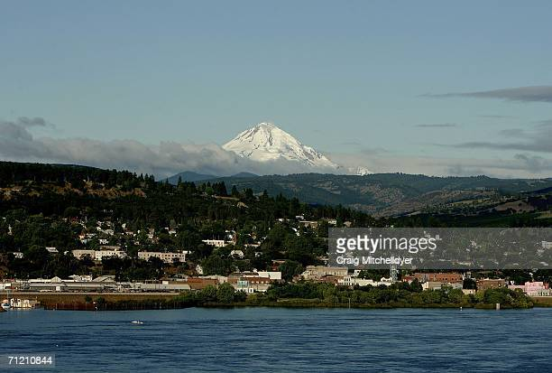 Mt Hood rises in the background as the town of The Dalles is seen on the Columbia River June 15 2006 in Oregon Google is building two new computing...
