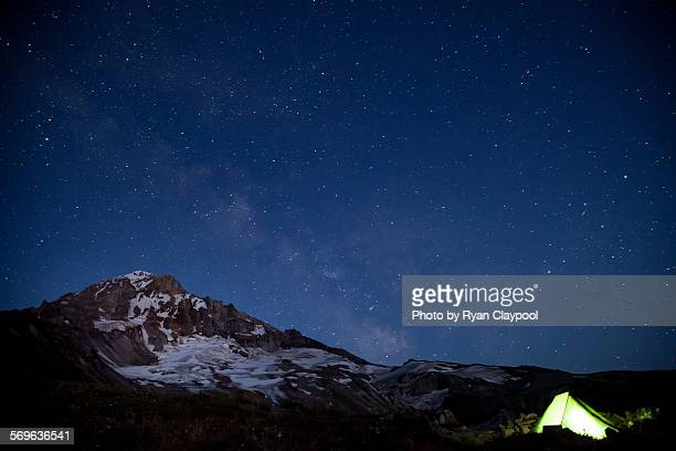 Mt. Hood under the stars with a glowing tent