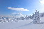 Mt. Jizo in winter, Yamagata Prefecture, Japan