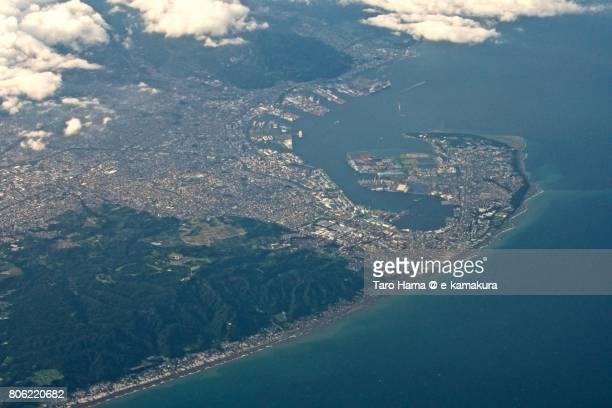Mt. Kunozan and Shimizu port in Shizuoka city daytime aerial view from airplane