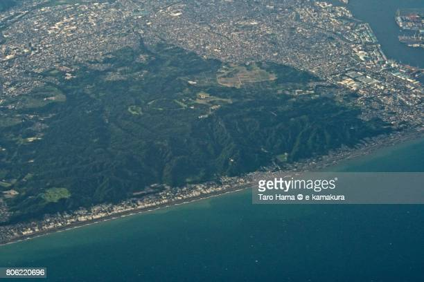 Mt. Kunozan in Shizuoka city daytime aerial view from airplane