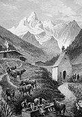 Mt maedelegabel in the allgaeu bavaria germany historical illustration circa 1893