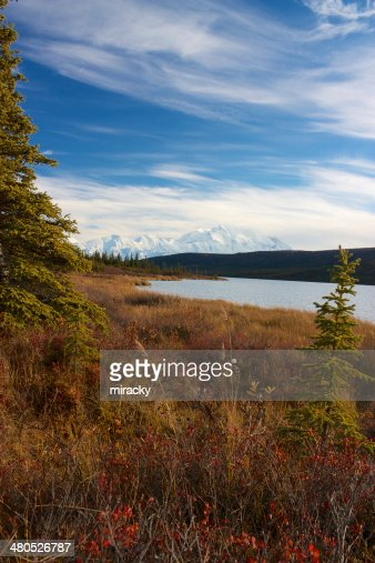 Mt. McKinley von See Wonder Lake : Stock-Foto