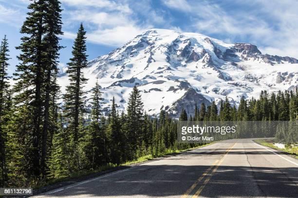 Mt Rainier snow capped summit in Washington state, Northwest USA
