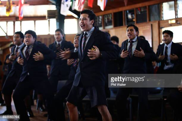 Mt Roskill Grammar students perform a haka during the All Blacks Maori All Blacks New Zealand Lions Series Squads Announcement at Butler Hall on June...