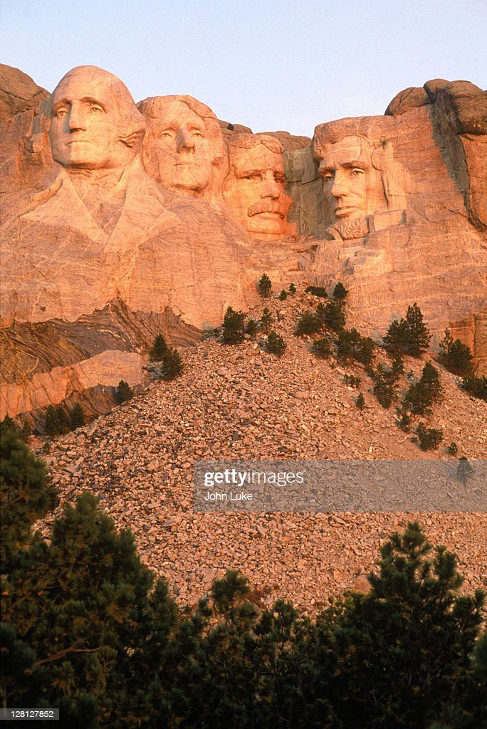 Mt Rushmore at sunrise, SD : Stock Photo
