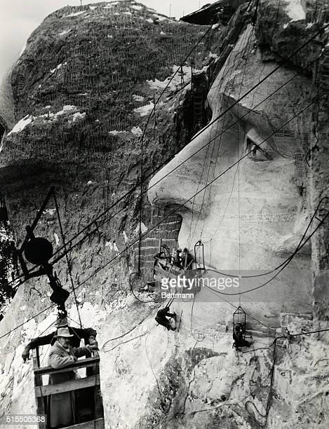 Mt RushmoreSouth Dakota Working on the mouth of Jefferson Mr Borglum from a study of numerous paintings and drawings of Jefferson noted that the man...