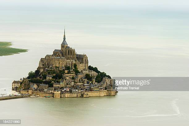 Mt Saint Michel - aerial view at high tide