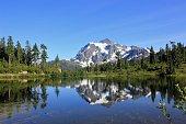 Mt. Shuksan reflected in Picture lake at North Cascades National Park, Washington, USA