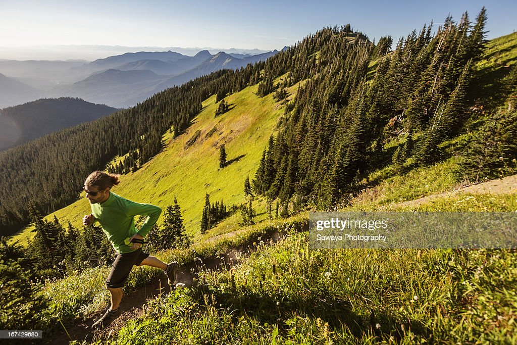 Mt. trail running in the North Cascades : Stock Photo