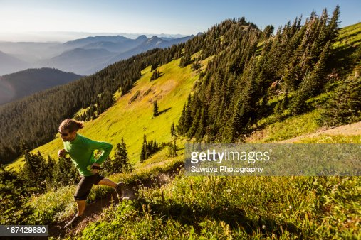 Mt. trail running in the North Cascades : Foto de stock