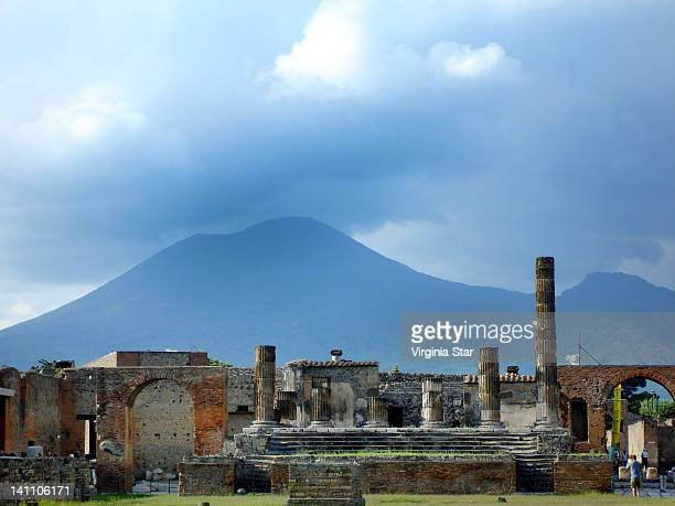 Mt Vesuvius above ruins of Pompeii in Italy
