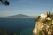 Mt Vesuvius from Vico Equense town, near Sorrento