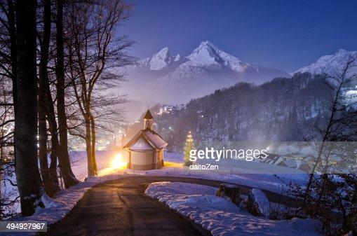Mt. Watzmann with Lockstein Chapel, Germany