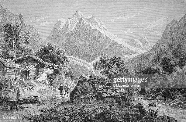 Mt wetterhorn en route from interlaken to grindelwald switzerland historic wood engraving ca 1880