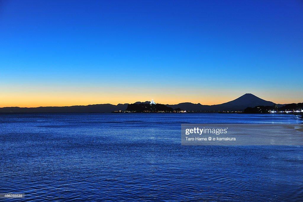 Mt.Fuji and Enoshima Island after sunset : Stock Photo