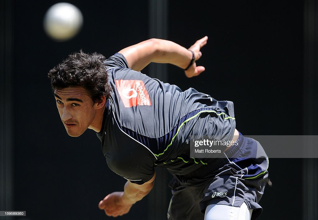 Mtichell Starc bowls during an Australian training session at The Gabba on January 17, 2013 in Brisbane, Australia.