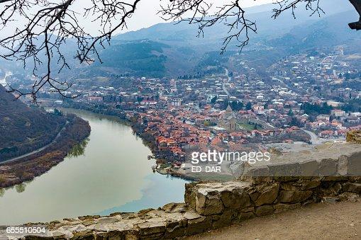Mtskheta view from Jvari monastery : Foto stock
