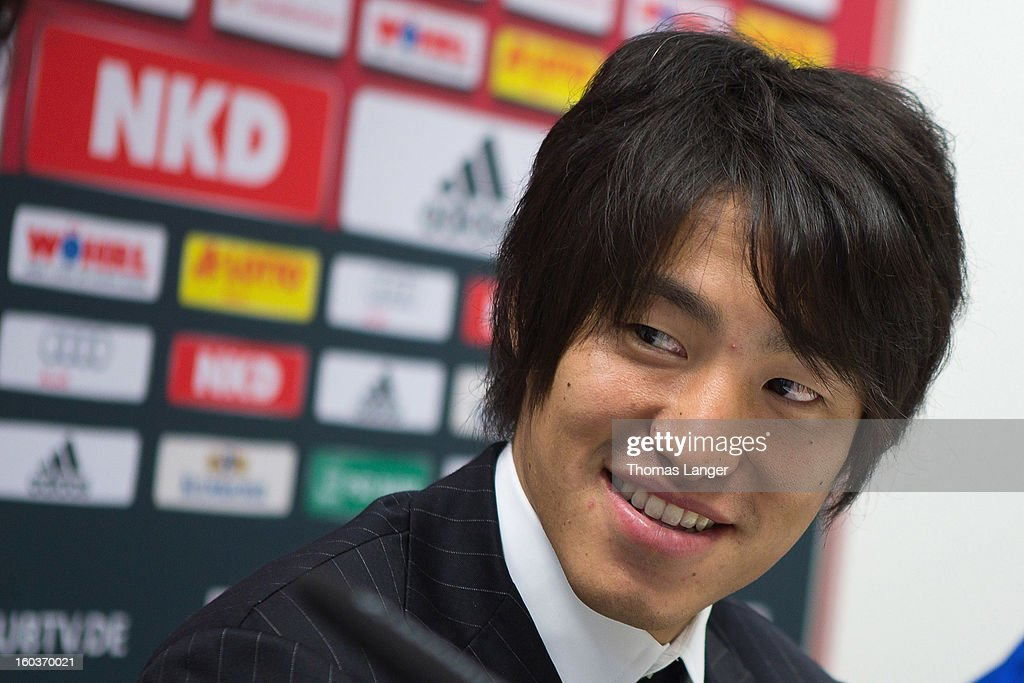 Mu Kanazaki attends a press conference presenting him as a newly signed player to 1. FC Nuernberg on January 30, 2013 at the Sportpark Valznerweiher in Nuremberg, Germany.