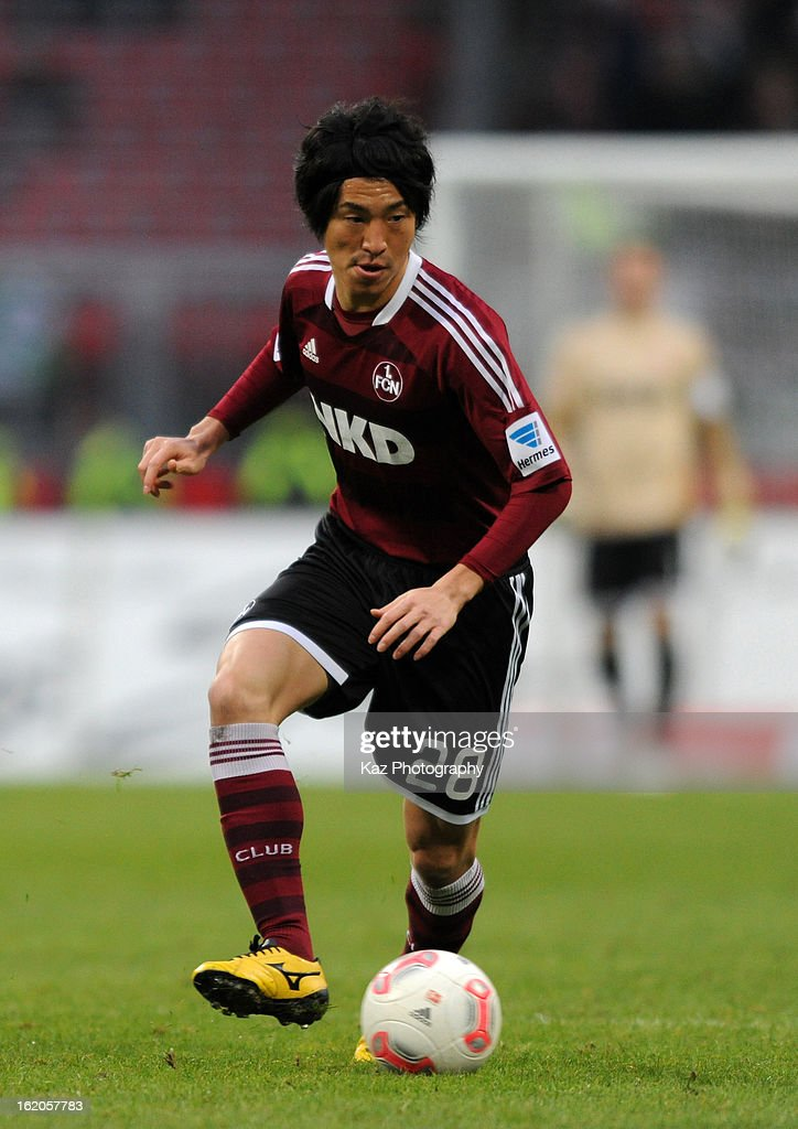 <a gi-track='captionPersonalityLinkClicked' href=/galleries/search?phrase=Mu+Kanazaki&family=editorial&specificpeople=6720023 ng-click='$event.stopPropagation()'>Mu Kanazaki</a> of 1. FC Nuernberg in action during the Bundesliga match between 1. FC Nuernberg and Hannover 96 at Grundig-Stadion on February 17, 2013 in Nuremberg, Germany.