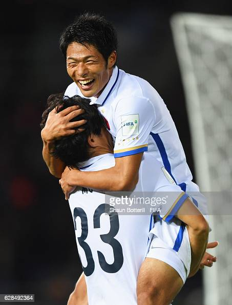Mu Kanazaki of Kashima Antlers celebrates with Shuhei Akasaki as he scores their second goal during the FIFA Club World Cup Playoff for Quarter Final...