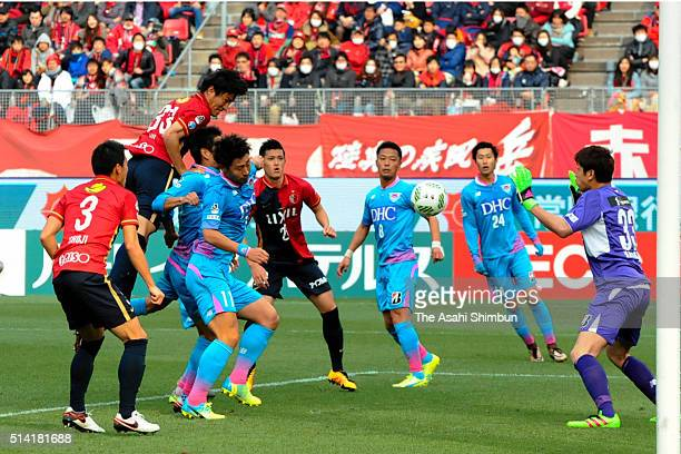 Mu Kanazaki of Kashima Antlers heads the ball to score his team's first goal during the JLeague match between Kashima Antlers and Sagan Tosu at the...