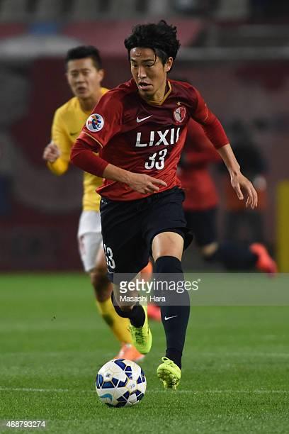 Mu Kanazaki of Kashima Antlers in action during the AFC Champions League Group H match between Kashima Antlers and Guangzhou Evergrande at Kashima...