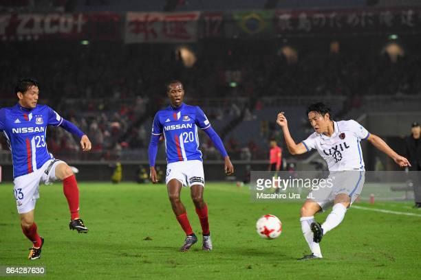 Mu Kanazaki of Kashima Antlers in action during the JLeague J1 match between Yokohama FMarinos and Kashima Antlers at Nissan Stadium on October 21...