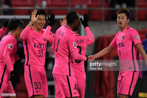 Mu Kanazaki#33 of Kashima Antlers celebrates scoring his team's first goal during the AFC Champions League Group E match between Kashima Antlers and...